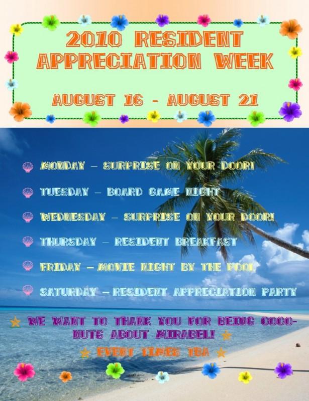 resident appreciate week extravaganza